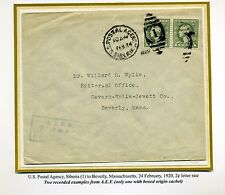 Scott #536 Pair RARE US Postal Agency, SIBERIA COVER to US-2 Cent Letter Rate!!