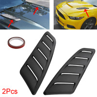 2xCar Hood Decorative Air Flow Fender Intake Scoop Turbo Bonnet Vent Cover Black