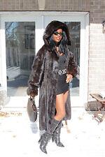Designer Swing Hooded Sable Black hue Full length Mink Fur Coat Jacket S-L 4-10