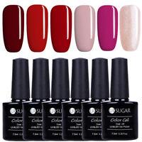 6Pcs/Set UR SUGAR 7.5ml Nail UV Gel Polish Red Pink Glitter Nail Art Soak Off