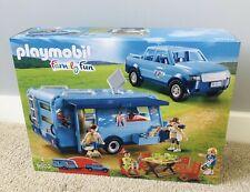 NEW PLAYMOBIL 9502 FunPark Pickup Truck +Caravan Camper Set Toy RRP £49.99 (6)