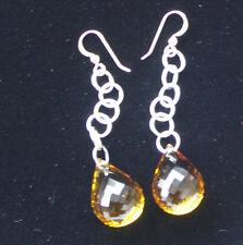New Nwot Huge dangling 52.65 carat Genuine Citrine 14k gold & Silver earrings