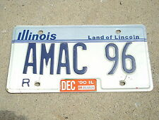 1990 Illinois Land of Lincoln VANITY License Plate AMAC 96 IL Tag