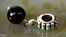 Black Onyx Dangling Ball Crystal Gemstone Charm Bead Reiki Blessed Gem Stone