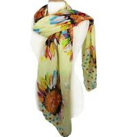GORGEOUS Multicolor Polka Dots Flower Print Light Yellow Scarf Head Wrap