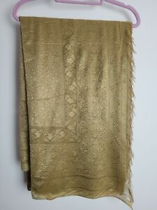 Gold Lace Saree Sari Bollywood with Tassled End.