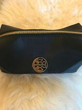 NEW TORY BURCH Dark Navy Wristlet Cosmetic Bag Makeup Pouch Bag