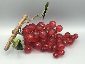 Acrylic Faceted Red Grape Cluster Mid Century Modern Vintage