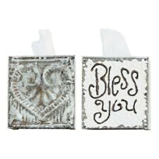 """Creative Co-Op Tissue Box Cover Metal Bless You"""" Metal Heart Use Either Side New"""
