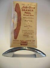 Vintage NOS CHROME Brass DRAWER Pulls BLACK Lines Ribbed Cabinet Handles Amerock