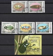 Insectes Cambodge série complète et bloc correspondant oblitérés (2)