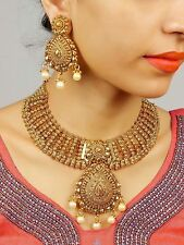 2188 Traditional Gold Plated Maroon Necklace Earrings Set New Ethnic Indian Set