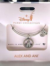 Disney  Alex & And Ani Cinderella Castle With Crystals Silver Bangle Bracelet