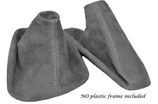 WHITE STITCH MID GREY SUEDE MANUAL GAITER SET FITS BMW 5 SERIES E39 1996-2004