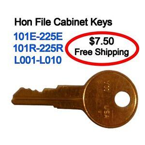 Hon File Cabinet Keys 101E-150E Keys cut to code