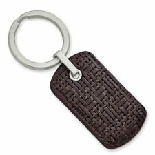 Stitched Leather Key Ring Msrp$120 Stainless Steel Brushed Brown Woven and