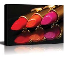 "Canvas Prints- Vibrant Lip Colors in a Golden Lipstick Tube- 16"" x 24"""