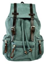 "Vintage Style Canvas 13"" Laptop Notebook Backpack Rucksack Unisex - Sage Green"