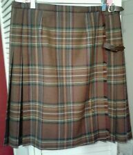 Laura Ashley WOOL Preppy  Plaid Preppy Skirt Size 14 Front Buckles Pleated