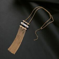 Collier Doré Long Pendantif  Pompon Metal Fil Turquoise Blanc Leger Retro MYL 2