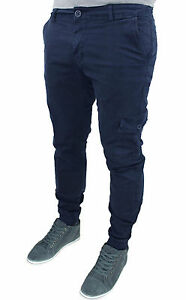 Men's Trousers Cargo Blue Cotton Denim Military with Pockets 42 44 46 48 50 52