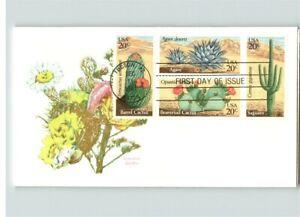CACTUS, Desert Plants, All 4 stamps on FDC, Barrel, Beavertail, Agave & Saguaro