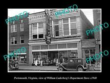 OLD LARGE HISTORIC PHOTO OF PORTSMOUTH VIRGINIA, VIEW OF LADERBERG STORE c1940