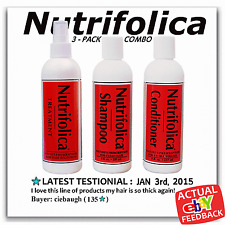 3 PACK COMBO NUTRIFOLICA STOP HAIR LOSS treatment grow natural with SAW PALMETTO