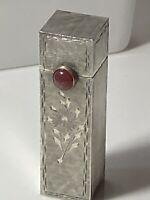 1950's Stunning  Silver 800 Lipstick Case & Holder With Carnelian Gemstone