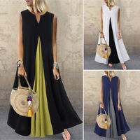ZANZEA 8-24 Women Sleeveless Dress Long Maxi Color Block Kaftan Abaya Sundress