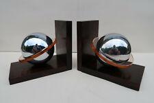 Paire de Serre Livres Planetes Saturne Ebene Macassar Chrome et Verre Art Deco