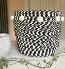 Round Storage Basket Tidy Fabric Woven Black White Pom Poms Toiletries Plant Pot