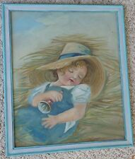Vintage 1936 Original Painting of Young Girl Sleeping in Hay Signed Lillian Howe