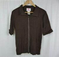 Quacker Factory Brown Rhinestones Short Sleeve Zip Front Cardigan Women's Large