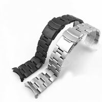 Curved Stainless Steel Watch Band Strap Clasp Solid Links Replacement 20 22mm