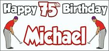 Golf Golfer Mens 75th Birthday Banner x2 Party Decorations Personalised ANY NAME