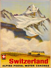 Switzerland Alpine Motor Coaches Swiss Vintage Travel Advertisement Poster Print
