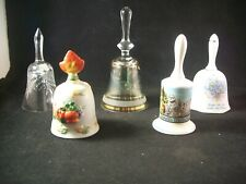 5 decorative bells, chrystal, porcelen, pottery