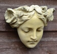 Art nouveau female face decorative wall plaque stone home garden ornament 13cmH