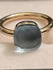 Pomellato - Nudo Classic Ring with Blue Topaz 18k Gold Beautiful Estate Piece