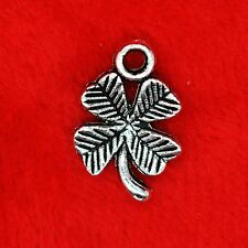 12 x Tibetan Silver Lucky Four Leaf Clover Charm Pendant Finding Bead Making