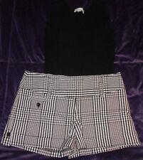 White House Black Market Black Sleeveless Shirt & Dots Black & White Shorts 3/4