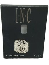 💥 INC INTERNATIONAL CONCEPTS SIZE 7 SILVER TONE CUBIC ZIRCONIA RING H822💥