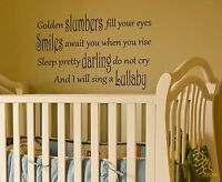 Lullaby Wall Quote Decal golden slumbers sticker nursery baby room mural