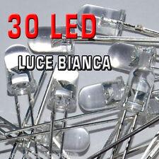 30 diodi LED 3mm trasparenti colore BIANCO ad ALTA LUMINOSITA'+30 resistenze