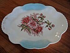 RARE HOMER LAUGHLIN AMERICAN BEAUTY PLATTER 1898 PINK FLOWER WHITE & BLUE PLATE