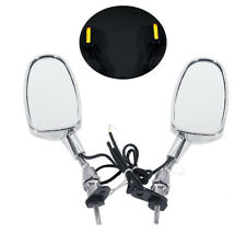 Motorcycle LED Turn Signals Integrated Indicator Rear View Racing Mirrors Chrome