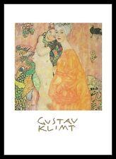 Gustav Klimt Freundinnen Poster Bild Kunstdruck im Alu Rahmen in schwarz 50x70cm