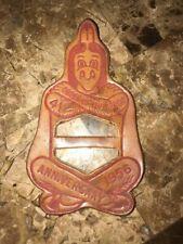 Boy Scout OA 1956 NOAC LEATHER NECKERCHIEF SLIDE BSA Obscure Lodge WWW