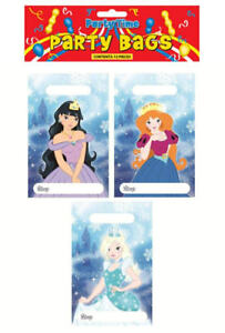 12 Ice Princess Empty Party Bags - Toy Loot Gift Kids Plastic Frozen Girl Snow